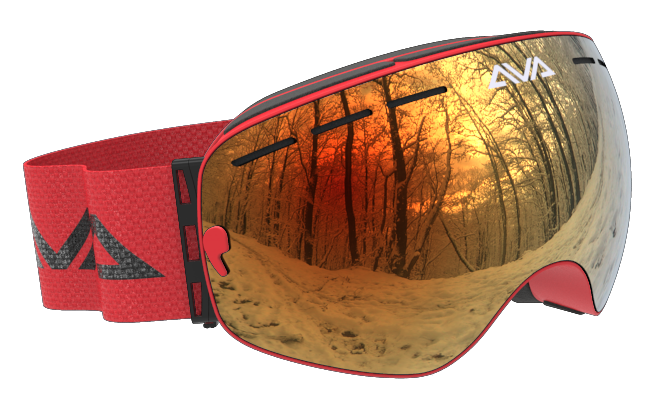 All red ski goggles