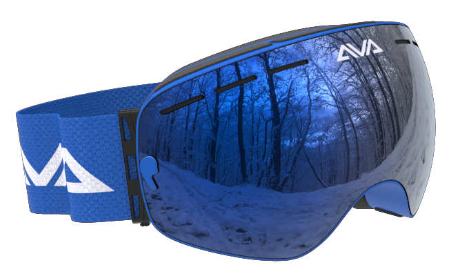 All blue ski goggles