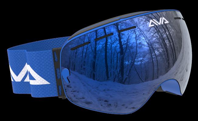 All blue ski goggles