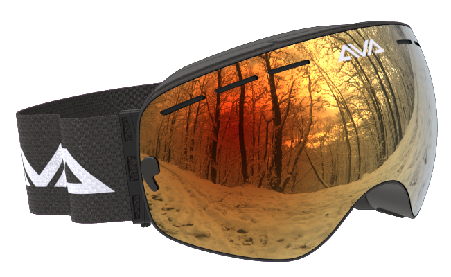 Black and Orange ski goggles