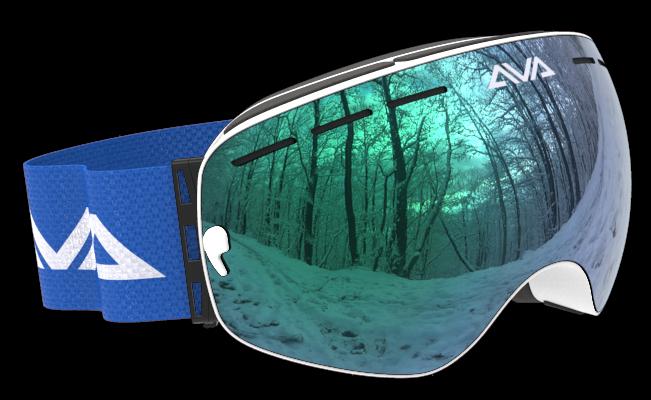 White Green and Blue ski goggles