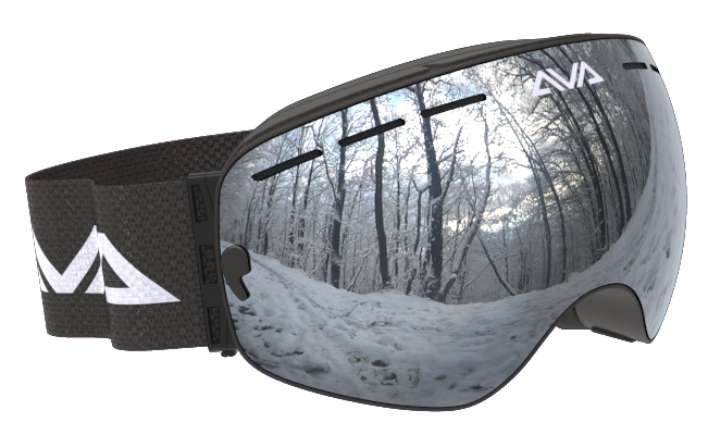 Black and Silver ski goggles