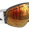 White Orange and Black ski goggles