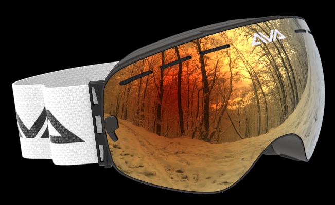 White Orange and Black ski goggles
