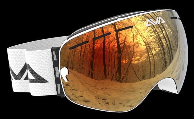 White and Orange ski goggles