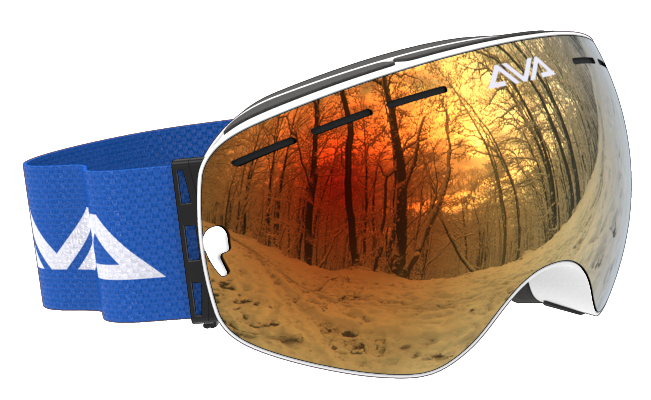 White Blue and Orange ski goggles