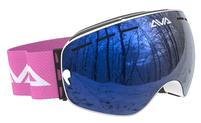White Blue and Pink ski goggles