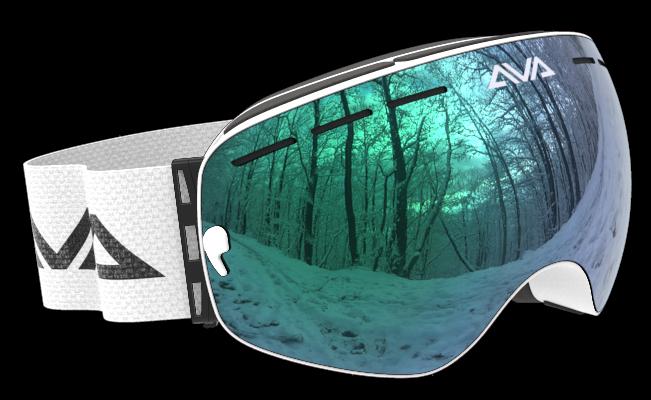 White Green and White ski goggles