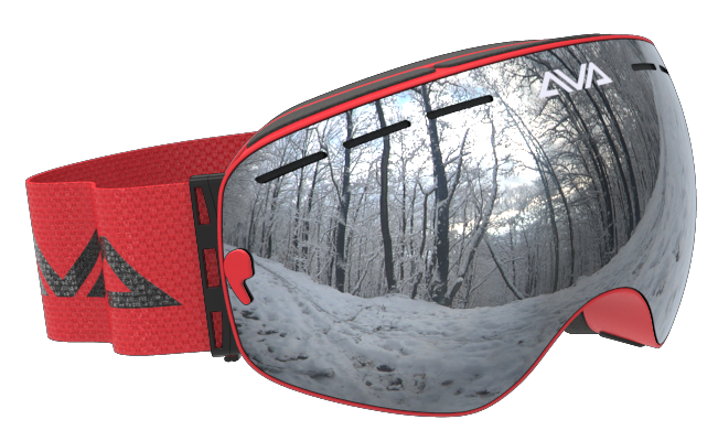 Red and Silver ski goggles