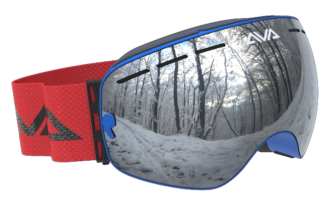 Red Blue and Silver ski goggles