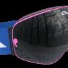Pink Blue and Black ski goggles