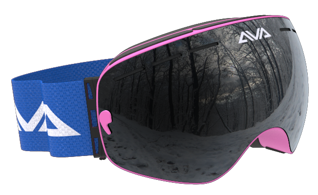 Pink Blue and Black ski goggles