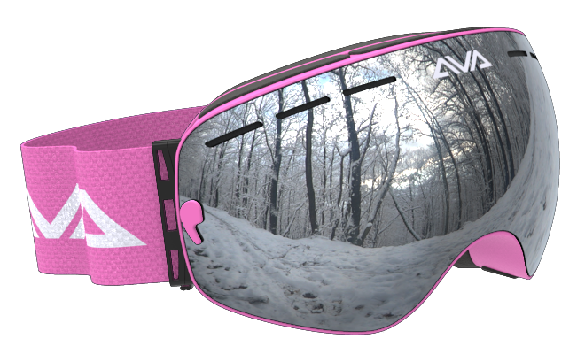 Pink and Silver ski goggles